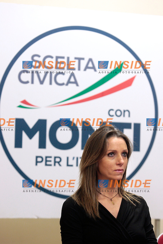 Valentina Vezzali.Roma 15/02/2013 Presentazione del programma per lo sport della Scelta Civica Monti per l'Italia..The italian premier presents his program for sport for the next elections 2013 and candidate two of the best athlets in the world at the past olympic and paralympic games. .Photo Samantha Zucchi Insidefoto