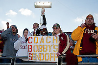 January 01, 2010:   Florida State fans hold up a sign in support of coach Bobby Bowden during Konica Minolta Gator Bowl College football action between the West Virginia Mountaineers and the Florida State Seminoles played at the Jacksonville Municipal Stadium in Jacksonville, Florida on January 01, 2010.  Florida State defeated West Virginia 33-21.