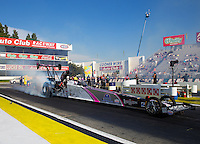 Feb 6, 2015; Pomona, CA, USA; NHRA top alcohol dragster driver Ashley Sanford during qualifying for the Winternationals at Auto Club Raceway at Pomona. Mandatory Credit: Mark J. Rebilas-USA TODAY Sports