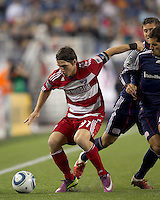 FC Dallas defender Zach Loyd (91) attempts to control the ball. In a Major League Soccer (MLS) match, the New England Revolution defeated FC Dallas, 2-0, at Gillette Stadium on September 10, 2011.