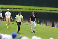 Thorbjorn Olesen (DEN), Jose Maria Olazabal (ESP) and Kevin Na (USA) on the 16th during the 2nd round at the The Masters , Augusta National, Augusta, Georgia, USA. 12/04/2019.<br /> Picture Fran Caffrey / Golffile.ie<br /> <br /> All photo usage must carry mandatory copyright credit (© Golffile | Fran Caffrey)