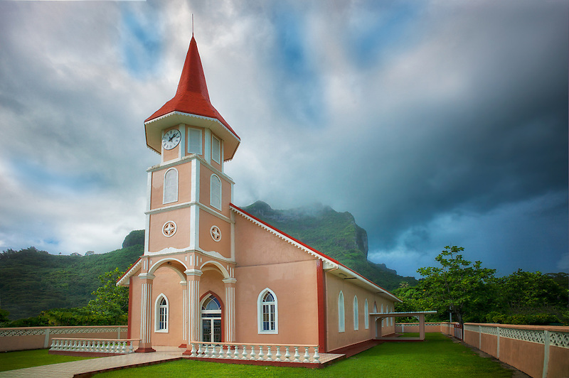 Eglise Evangelique Church. Vaitape, Bora Bora. Fench Polynesia.
