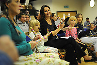 Machynlleth, Wales. 29th July, 2017. <br /> Members of the audience participating in a music workshop with the group, ECCO (Ethnic Contemporary Classical Orchestra).<br /> Photographer; Kevin Hayes