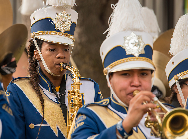 Band members perform during a groundbreaking ceremony at Milby High School, December 18, 2014.