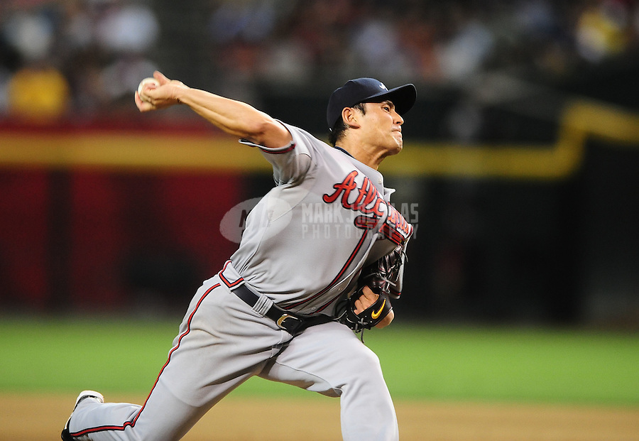 Jun. 9, 2010; Phoenix, AZ, USA; Atlanta Braves pitcher Kenshin Kawakami against the Arizona Diamondbacks at Chase Field. Mandatory Credit: Mark J. Rebilas-