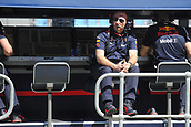 23rd March 2018, Melbourne Grand Prix Circuit, Melbourne, Australia; Melbourne Formula One Grand Prix, Friday free practice; Christian Horner, principal of Red Bull Racing sits in the pit box