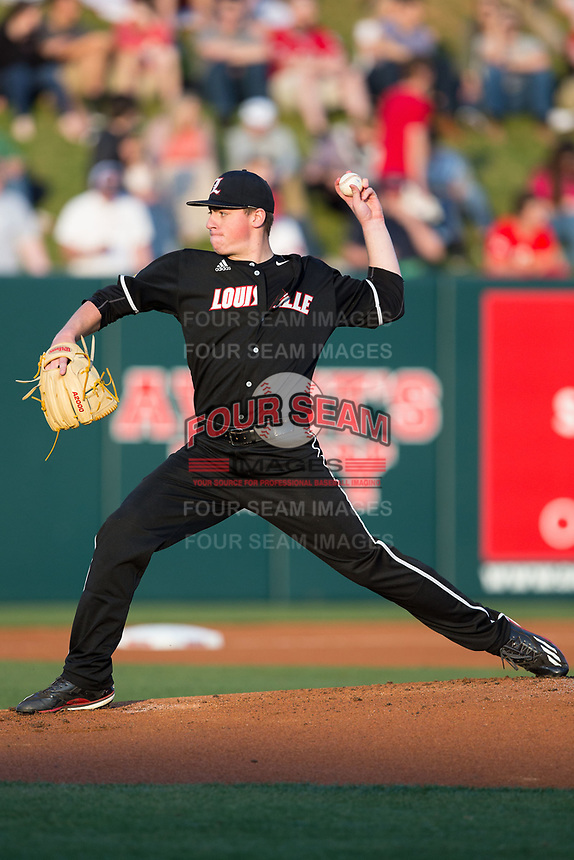Louisville Cardinals starting pitcher Brendan McKay (38) in action against the North Carolina State Wolfpack at Doak Field at Dail Park on March 24, 2017 in Raleigh, North Carolina.  (Brian Westerholt/Four Seam Images)