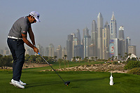 Matthieu Pavon (FRA) on the 8th tee during Round 1 of the Omega Dubai Desert Classic, Emirates Golf Club, Dubai,  United Arab Emirates. 24/01/2019<br /> Picture: Golffile | Thos Caffrey<br /> <br /> <br /> All photo usage must carry mandatory copyright credit (&copy; Golffile | Thos Caffrey)