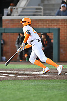 University of Tennessee Trey Lipscomb (21) swings at a pitch during a game against Western Illinois at Lindsey Nelson Stadium on February 15, 2020 in Knoxville, Tennessee. The Volunteers defeated Leathernecks 19-0. (Tony Farlow/Four Seam Images)