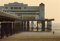 - wooden wharf in Weston-super-Mare bathing town, on the south coast....- pontile di legno nella città balneare di  Weston-super-Mare, sulla costa meridionale