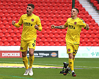 Ched Evans (left) celebrates scoring his side's first goal with Ashley Hunter<br /> <br /> Photographer David Shipman/CameraSport<br /> <br /> The EFL Sky Bet League One - Doncaster Rovers v Fleetwood Town - Saturday 6th October 2018 - Keepmoat Stadium - Doncaster<br /> <br /> World Copyright &copy; 2018 CameraSport. All rights reserved. 43 Linden Ave. Countesthorpe. Leicester. England. LE8 5PG - Tel: +44 (0) 116 277 4147 - admin@camerasport.com - www.camerasport.com