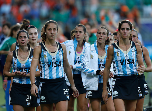 12.06.2014. The hague, Netherlands.  Argentina Mariela Scarone (left) tearful after the game -Netherlands versus Argentina, semi-final Womens  Rabobank Hockey World Cup 2014. The game ended 4-0 with Netherlands making the final