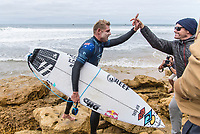 BELLS BEACH, Torquay, Victoria, Australia    (Tuesday, April 3, 2018) Mick Fanning (AUS) and Taylor Knox (USA). - Top seeds continue to fall at the Rip Curl Pro Bells Beach, Stop No. 2 on the World Surf League (WSL) Championship Tour (CT), after completing men&rsquo;s Rounds 3 and 4, and the women&rsquo;s Quarterfinals in four-to-six foot (1.2 - 2 metre) conditions. <br /> <br /> Today witnessed all but three WSL Championships dispatched with John John Florence (HAW), Joel Parkinson (AUS), Adriano de Souza (BRA), and Carissa Moore (HAW) out of the draw. Now, only Mick Fanning (AUS), Stephanie Gilmore (AUS), and Gabriel Medina (BRA) represent the class of elite World Champions heading into the Final Series of the iconic Rip Curl Pro Bells Beach event. <br /> <br /> Two-time, reigning WSL Champion Florence is out of the Rip Curl Pro Bells Beach after losing to compatriot Ezekiel Lau (HAW) in the opening heat of the day. In Round 3 Heat 7, Lau put the pressure on Florence by jostling for position. Lau&rsquo;s physical assertion seemed to throw Florence off his game as he struggled to find a wave of substance. Lau, on the other hand, looked confident and powerful in that heat as well as in Round 4, where he defeated Frederico Morais (PRT) and Conner Coffin (USA). <br /> <br /> Photo: joliphotos.com