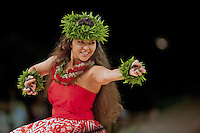 Shaunte' Nobriga dances for the Miss Aloha Hula competition at the 2012 Merrie Monarch hula festival in Hilo, on the Big island of Hawaii