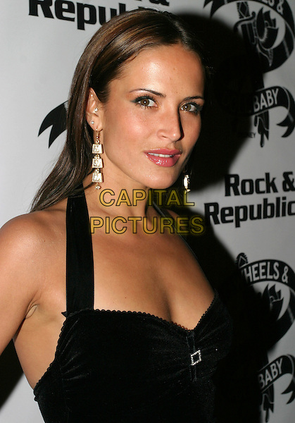 """SOPHIE ANDERTON.Attends """"Christmas in July"""" Fashion Show and Party, Pangaea, London,.13th July 2004..portrait headshot black halterneck dress gold drop earrings.Ref: AH.www.capitalpictures.com.sales@capitalpictures.com.©Capital Pictures."""