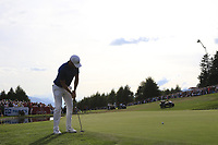 Lucas Bjerregaard (DEN) putts on the playoff green 18 during Sunday's Final Round 4 of the 2018 Omega European Masters, held at the Golf Club Crans-Sur-Sierre, Crans Montana, Switzerland. 9th September 2018.<br /> Picture: Eoin Clarke | Golffile<br /> <br /> <br /> All photos usage must carry mandatory copyright credit (&copy; Golffile | Eoin Clarke)
