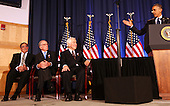 United States President Barack Obama, right, delivers remarks to the Nunn-Lugar Cooperative Threat Reduction symposium at the National Defense University for the 20th anniversary of the CTR program on December 3, 2012 as U.S. Secretary of Defense Leon Panetta, left, former U.S. Senator Sam Nunn (Democrat of Georgia), left center, and U.S. Senator Dick Lugar (Republican of Indiana), right center, listen. In his speech, the president acknowledge the extraordinary progress made in securing nuclear material, and thanked Senators Nunn and Lugar for their works on those issues. .Credit: Aude Guerrucci / Pool via CNP