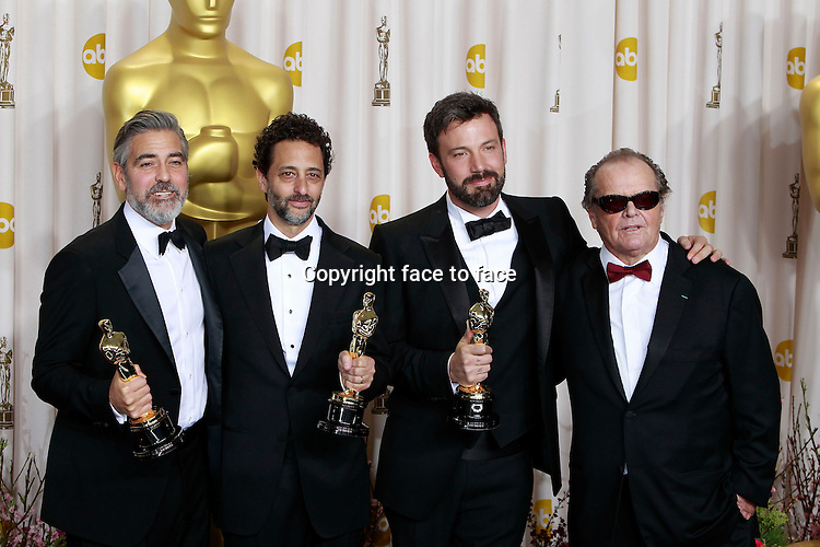George Clooney, Grant Heslov, Ben Affleck, and Jack Nicholson attending the 85th Academy Awards at the Hollywood and Highland Center in Hollywood, California, 24.02.2013...Credit: MediaPunch/face to face..- Germany, Austria, Switzerland, Eastern Europe, Australia, UK, USA, Taiwan, Singapore, China, Malaysia and Thailand rights only -