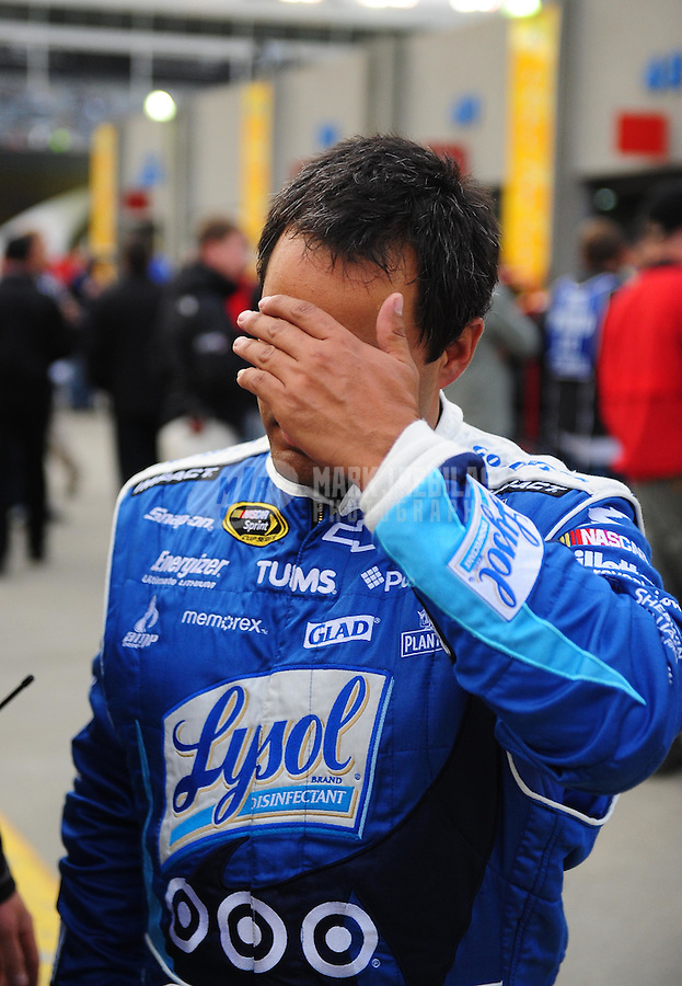 Oct. 15, 2009; Concord, NC, USA; NASCAR Sprint Cup Series driver Juan Pablo Montoya reacts during practice for the Banking 500 at Lowes Motor Speedway. Mandatory Credit: Mark J. Rebilas-