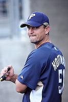 Trevor Hoffman of the San Diego Padres during batting practice before a game against the Los Angeles Dodgers in a 2007 MLB season game at Dodger Stadium in Los Angeles, California. (Larry Goren/Four Seam Images)