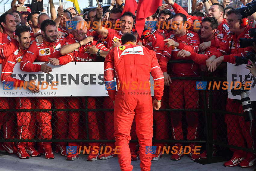 Race winner Sebastian Vettel (GER) Ferrari celebrates in parc ferme with the team at Formula One World Championship, Rd1, Australian Grand Prix, Practice, Albert Park, Melbourne, Australia, Friday 24 March 2017. <br /> Vettel festeggia con i meccanici e la squadra  <br /> Foto Sutton/Panoramic/Insidefoto
