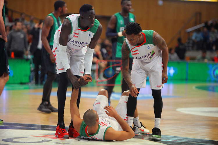 League ACB-Endesa 2015-2016. Game: 16.<br /> FIATC Joventut vs Laboral Kutxa Baskonia: 68-89.<br /> Diop, Hanga &amp; Adams.