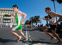 16 SEP 2012 - NICE, FRA - Jonathan Brownlee (left) of EC Sartrouville leads David Hauss of Les Sables Vendee Triathlon at the start of the run during the final rstage of the French Grand Prix triathlon series held during the Triathlon de Nice Côte d'Azur .(PHOTO (C) 2012 NIGEL FARROW)