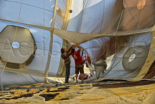 26.07.2015. Chambley Bussieres, France. Hot Air balloon presentation.  The inside of a balloon is inspected