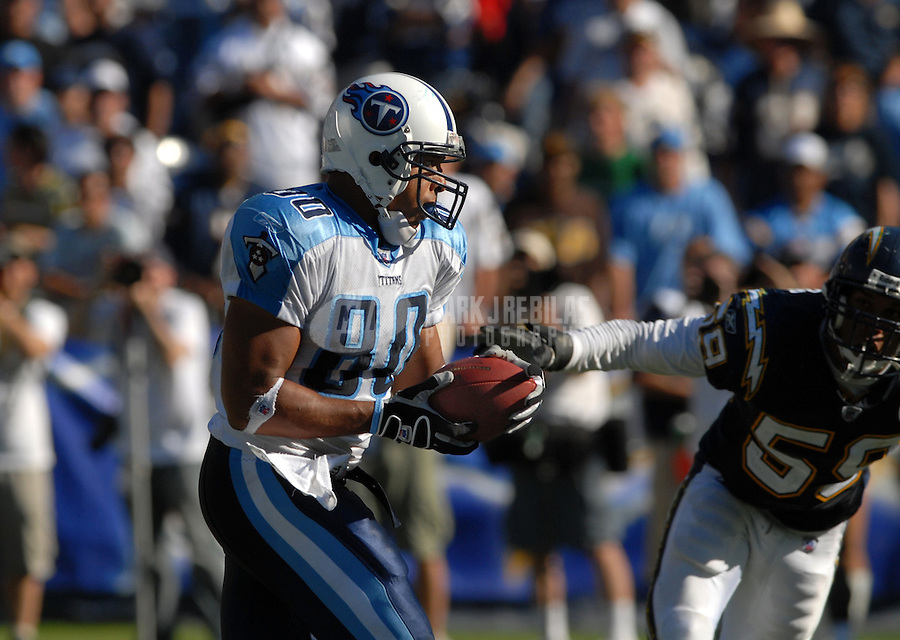 Sept. 17, 2006; San Diego, CA, USA; Tennessee Titans tight end (80) Bo Scaife against the San Diego Chargers at Qualcomm Stadium in San Diego, CA. Mandatory Credit: Mark J. Rebilas