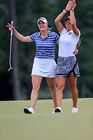 Jennifer Kupcho (USA) and Maria Fassi (MEX) on the 18th green during the final  round at the Augusta National Womans Amateur 2019, Augusta National, Augusta, Georgia, USA. 06/04/2019.<br /> Picture Fran Caffrey / Golffile.ie<br /> <br /> All photo usage must carry mandatory copyright credit (&copy; Golffile | Fran Caffrey)