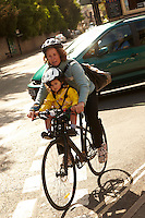 Mother and child cycling in Bath , May 2011 pic copyright Steve Behr / Stockfile