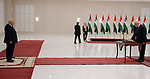 A new minister is sworn in during the swearing in ceremony of the new government at the Palestinian Authority's headquarters in the West Bank town of Ramallah, 13 April 2019. Photo by Thaer Ganaim