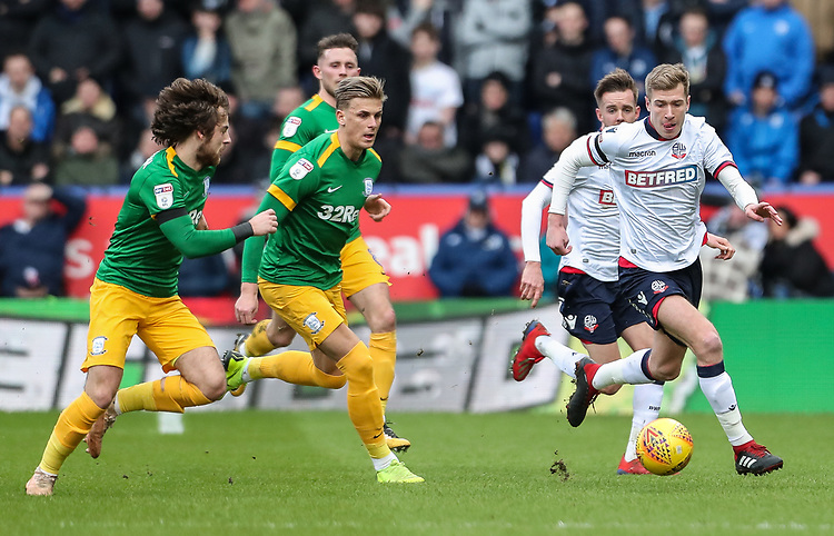 Bolton Wanderers' Josh Vela breaks<br /> <br /> Photographer Andrew Kearns/CameraSport<br /> <br /> The EFL Sky Bet Championship - Bolton Wanderers v Preston North End - Saturday 9th February 2019 - University of Bolton Stadium - Bolton<br /> <br /> World Copyright © 2019 CameraSport. All rights reserved. 43 Linden Ave. Countesthorpe. Leicester. England. LE8 5PG - Tel: +44 (0) 116 277 4147 - admin@camerasport.com - www.camerasport.com