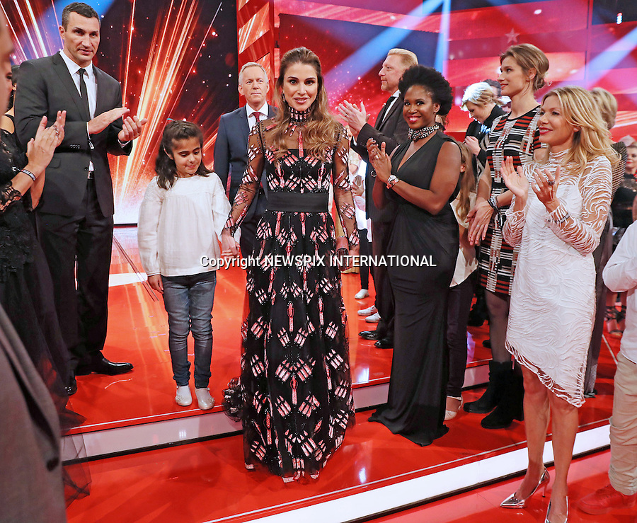 03.12.2016; Berlin, Germany: QUEEN RANIA<br />accepted the Golden Heart Award at A Heart for Children charity organization&rsquo;s 16th Gala in Berlin.<br />The award was in recognition of her global humanitarian work to support children&rsquo;s rights and their education.<br />Mandatory Photo Credit: &copy;Royal Hashemite Court/NEWSPIX INTERNATIONAL<br /><br />PHOTO CREDIT MANDATORY!!: NEWSPIX INTERNATIONAL(Failure to credit will incur a surcharge of 100% of reproduction fees)<br /><br />IMMEDIATE CONFIRMATION OF USAGE REQUIRED:<br />Newspix International, 31 Chinnery Hill, Bishop's Stortford, ENGLAND CM23 3PS<br />Tel:+441279 324672  ; Fax: +441279656877<br />Mobile:  0777568 1153<br />e-mail: info@newspixinternational.co.uk<br />&ldquo;All Fees Payable To Newspix International&rdquo;