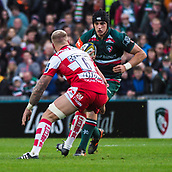 4th November 2017, Welford Road, Leicester, England; Anglo-Welsh Cup, Leicester Tigers versus Gloucester;  Sam Lewis on the charge for Leicester Tigers