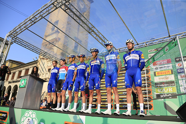 Quick-Step Floors at sign on before the start of the 112th edition of Il Lombardia 2018, the final monument of the season running 241km from Bergamo to Como, Lombardy, Italy. 13th October 2018.<br /> Picture: Eoin Clarke | Cyclefile<br /> <br /> <br /> All photos usage must carry mandatory copyright credit (© Cyclefile | Eoin Clarke)