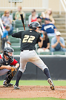 Erich Weiss (22) of the West Virginia Power at bat against the Kannapolis Intimidators at CMC-Northeast Stadium on April 30, 2014 in Kannapolis, North Carolina.  The Intimidators defeated the Power 2-1 in game one of a double-header.  (Brian Westerholt/Four Seam Images)