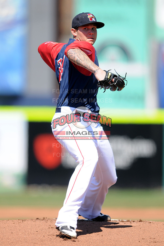 Portland Sea Dogs pitcher Drake Britton #34 during a game versus the New Britain Rock Cats at Hadlock Field in Portland, Maine on April 21, 2013.(Ken Babbitt/Four Seam Images)