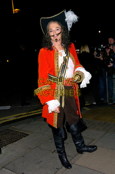 PAUL O'GRADY.Arrives at the pantomime themed fancy dress party reception for Matt Lucas & Kevin McGee following their civil partnership ceremony (wedding) earlier the same day, Banquetting House, Whitehall, London, England, .17th December 2006..full length costume hat wig red jacket black boots sword .CAP/CAN.©Can Nguyen/Capital Pictures