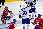 10 April 2010: Toronto Maple Leafs' right wing forward Phil Kessel celebrates a goal during the last game of the regular season facing the Montreal Canadiens at the Bell Centre in Montreal, Quebec, Canada. The Leafs defeated the Habs 4-3 in sudden death overtime as the Canadiens advance to the Stanley Cup Playoffs with the single point. Mandatory Credit: Ed Wolfstein Photo