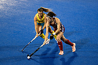 2nd February 2020; Sydney Olympic Park, Sydney, New South Wales, Australia; Womens International FIH Field Hockey, Australia versus Great Britain Women; Anna Toman of Great Britain takes on Ambrosia Malone of Australia