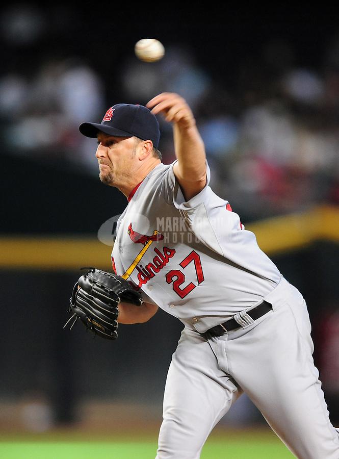 Sept 3, 2008; Phoenix, AZ, USA; St. Louis Cardinals pitcher Ron Villone against the Arizona Diamondbacks at Chase Field. Mandatory Credit: Mark J. Rebilas-