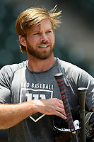Cleveland Indians infielder Mike Freeman works out with other Major League and Minor League players from around the region on Tuesday, June 2, 2020, at Fluor Field at the West End in Greenville, South Carolina. Team workouts have been shut down during the coronavirus pandemic, so this group began working out in what they call game situation simulations a couple of days a week. Freeman was drafted out of Clemson. (Tom Priddy/Four Seam Images)