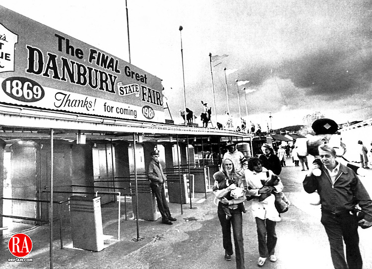 October 12, 1981 - DANBURY- Billed as the Final Great Danbury State Fair the 112th edition ends Monday, 10/12, and will give way to a planned shopping mall on the 142-acre site. Republican-American Archives
