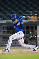 Tyler Ladendorf (7) of the Durham Bulls follows through on his swing against the Charlotte Knights at BB&T BallPark on July 31, 2019 in Charlotte, North Carolina. The Knights defeated the Bulls 9-6. (Brian Westerholt/Four Seam Images)