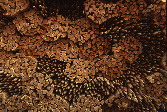 Stack of wooden stakes for vineyard in Napa Valley