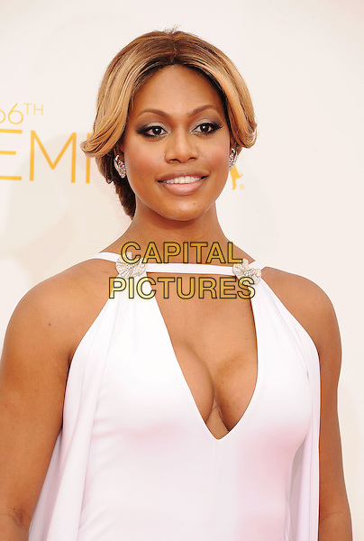 LOS ANGELES, CA- AUGUST 25: Actress Laverne Cox arrives at the 66th Annual Primetime Emmy Awards at Nokia Theatre L.A. Live on August 25, 2014 in Los Angeles, California.<br /> CAP/ROT/TM<br /> &copy;Tony Michaels/Roth Stock/Capital Pictures
