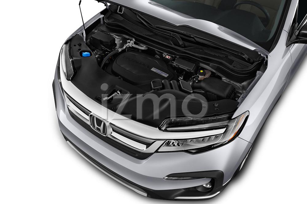 Car stock 2019 Honda Pilot Touring 5 Door SUV engine high angle detail view