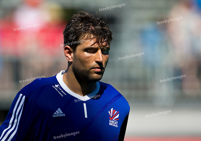 01/07/2015<br /> HWL Semi Final Antwerp Belgium 2015<br /> Great Britain v Pakistan Men<br /> English goal keeper  and Captain George Pinner<br /> Photo: Grant Treeby