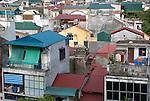 Hanoi, Vietnam, Tall narrow shop houses dominate the city skyline. photo taken July 2008.